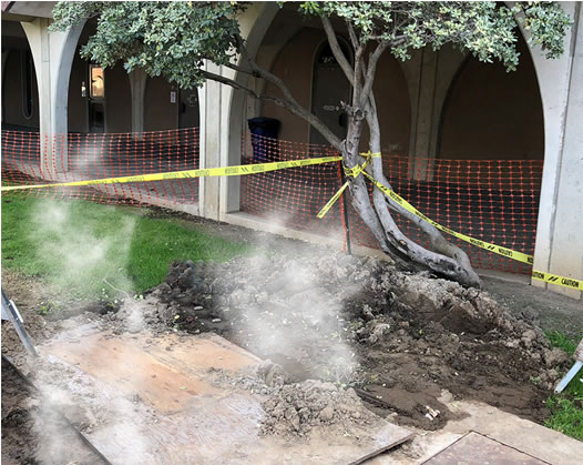 Broken Hot Water Main at Solano Community College